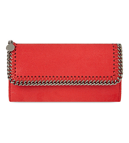 STELLA MCCARTNEY Falabella faux-suede continental wallet (Cherry red
