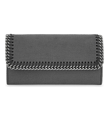STELLA MCCARTNEY Falabella faux-suede continental wallet (Dark+grey