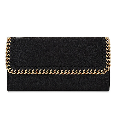 STELLA MCCARTNEY Continental faux-leather wallet (Black+gold