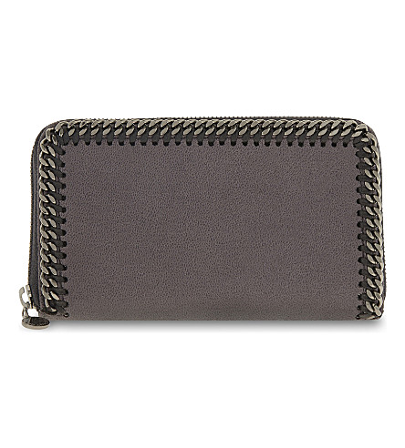 STELLA MCCARTNEY Falabella zipped wallet (Dark+grey