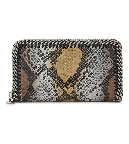 STELLA MCCARTNEY Falabellla snake-embossed faux leather zip-around purse (Bronze-metallic