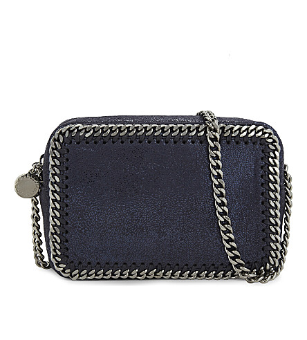 STELLA MCCARTNEY Falabella faux-suede cross-body bag (Ink+navy