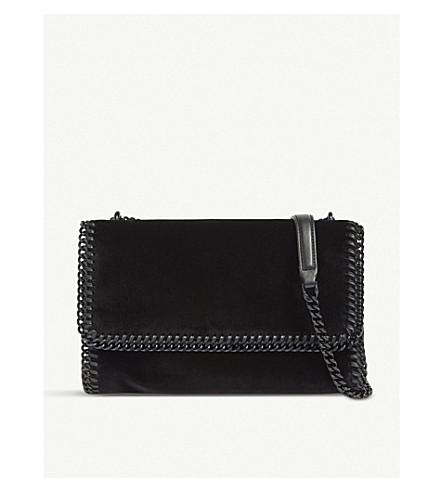 STELLA MCCARTNEY Stella falabella velvet cross-body bag (Black