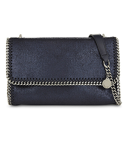 STELLA MCCARTNEY Falabella metallic faux-suede cross-body bag (Ink navy