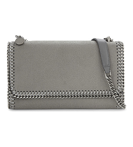 STELLA MCCARTNEY Falabella faux-leather shoulder bag (Light grey