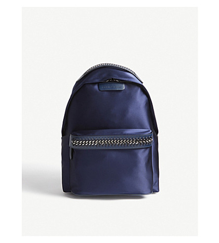 STELLA MCCARTNEY Falabella Go satin backpack (Navy