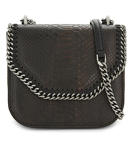 STELLA MCCARTNEY Falabella snake-embossed cross-body bag (Bronze