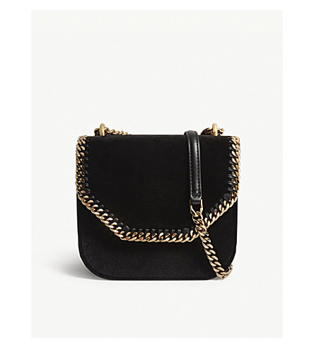 STELLA MCCARTNEY Falabella velvet cross-body bag (Black+gold