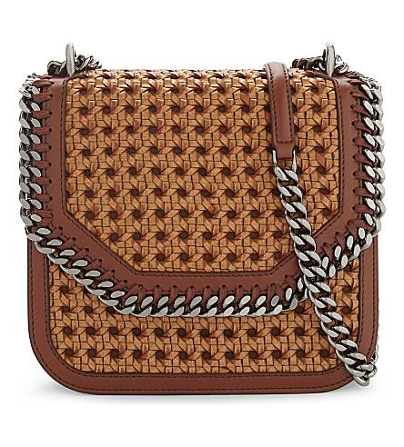 STELLA MCCARTNEY Wicker faux-leather cross-body bag (Tan