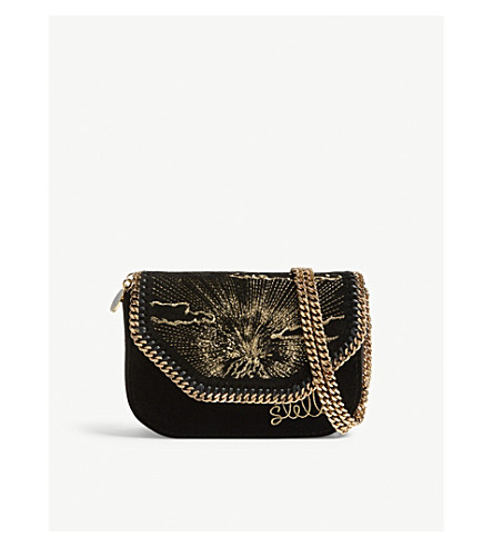 STELLA MCCARTNEY Volcano velvet box clutch (Black+gold