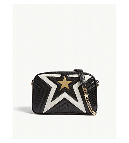 STELLA MCCARTNEY Quilted python-embossed star camera bag (Blk+white
