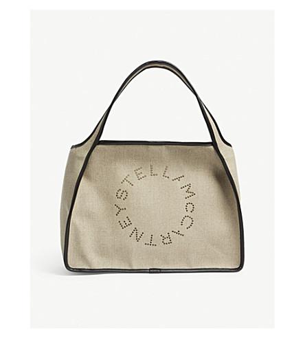 STELLA MCCARTNEY Grommet logo linen tote (Desert+beige