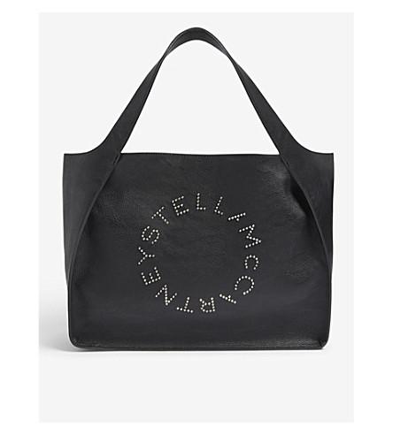 STELLA MCCARTNEY 徽标人造革单肩包 (黑色