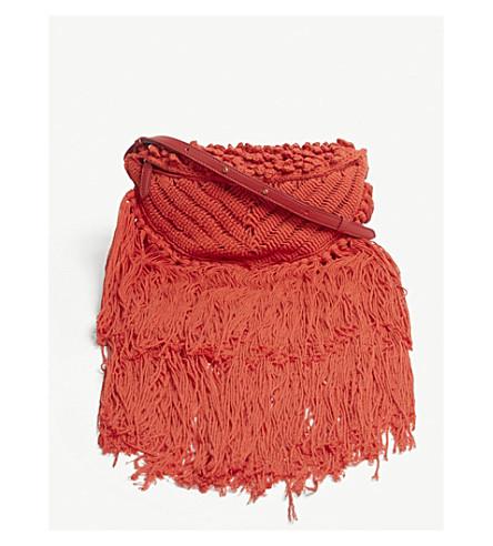 STELLA MCCARTNEY Macrame tassel bumbag (Red