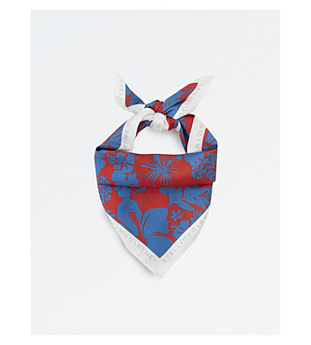 STELLA MCCARTNEY Floral print silk bandana (Blue+red