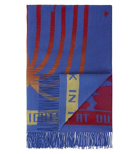 STELLA MCCARTNEY London print wool blanket scarf (Blue