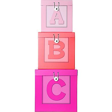 PRESENT TIME Set of three ABC Storage boxes
