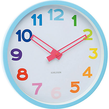 PRESENT TIME Splash Over the Rainbow wall clock