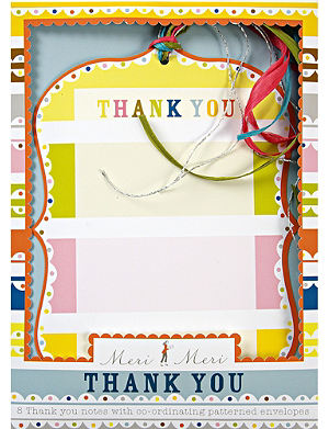 MERI MERI Set of eight Bright patterned party Thank You notecards