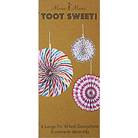 MERI MERI Pack of six Toot Sweet Pinwheel decorations