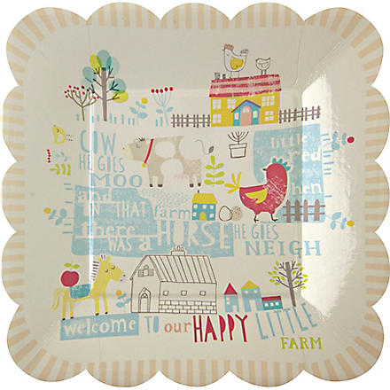 MERI MERI Pack of 12 Happy Little Farm small paper plates