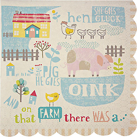 MERI MERI Pack of 20 Happy Little Farm small napkins
