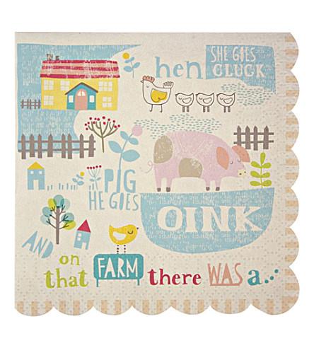 MERI MERI Pack of 20 Happy Little Farm small napkins