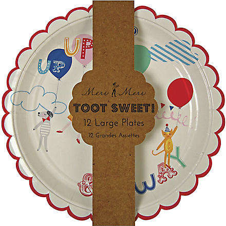 MERI MERI Pack of 12 Toot Sweet children's party plates 23cm