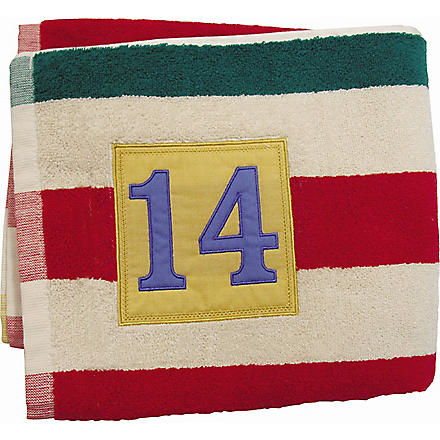 JOULES Rugby stripe bath towel
