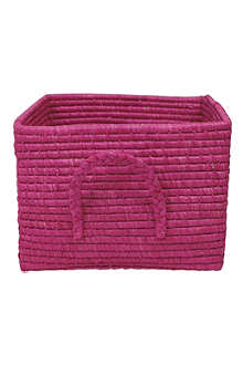 RICE Raffia square basket fuchsia