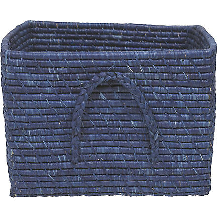 RICE Raffia square basket blue