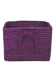 RICE Raffia square basket plum