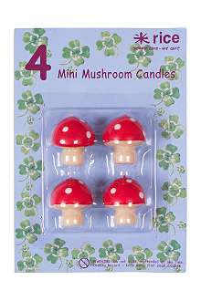 RICE Pack of four mini Mushroom cake candles
