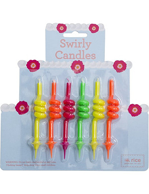 RICE Pack of six Swirly neon cake candles