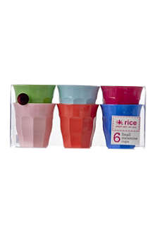 RICE Pack of six small melamine cups
