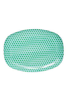 RICE Star-print rectangular melamine plate