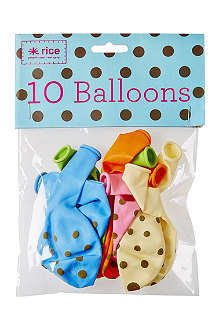 RICE Pack of 10 gold polka dot balloons