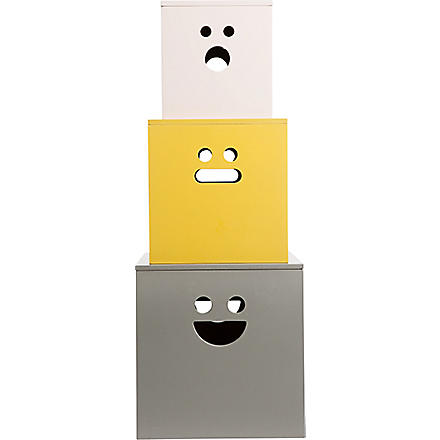 FERM LIVING Set of three Face storage boxes