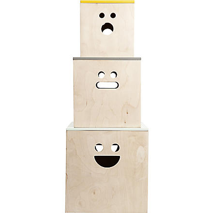 FERM LIVING Set of three Face plywood storage boxes