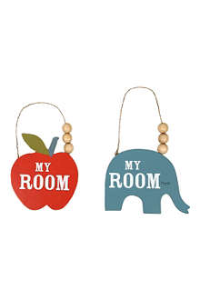 GISELA GRAHAM My Room wooden door plaque, assorted