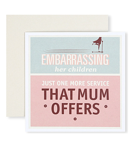 URBAN GRAPHIC 'Embarassing her Children' card