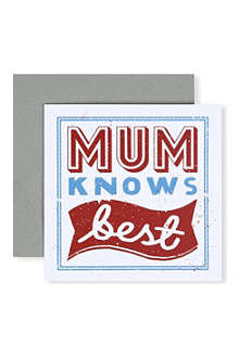URBAN GRAPHIC 'Mum Knows Best' card