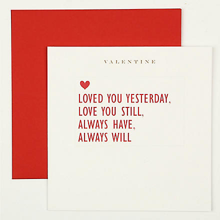 SUSAN O'HANLON Loved You Yesterday Valentine's Day card