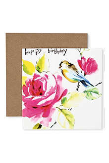 SOOSHICHACHA Flower and bird birthday card