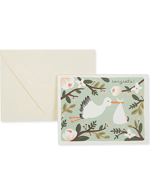 RIFLE PAPER Congrats stork card
