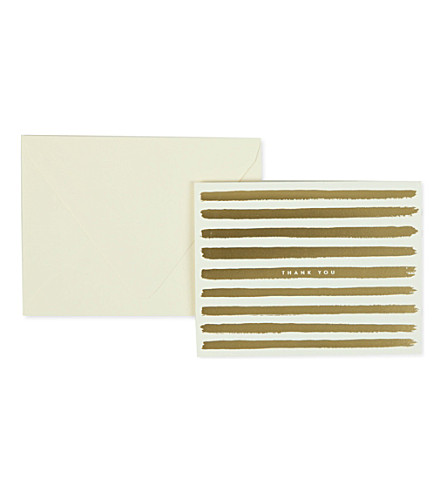 RIFLE PAPER Gold painted stripe thank you card