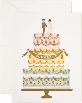 RIFLE PAPER Congrats Wedding Cake Card Selfridgescom - Selfridges Wedding Cakes
