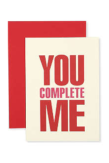SELECT BYU You Complete Me Valentine's Day card
