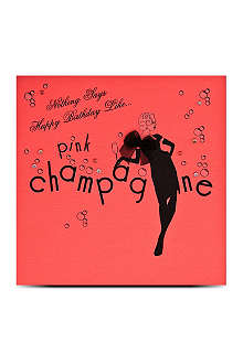 FIVE DOLLAR SHAKE Pink champagne birthday card
