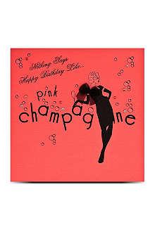 FIVE DOLLAR SHAKE Pink champagne birthday card